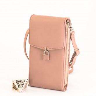 КОД : 9488 Малка дамска чанта от еко кожа в розов цвят - за телефон