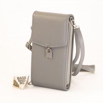 КОД : 9488 Малка дамска чанта от еко кожа в тъмно сив цвят - за телефон
