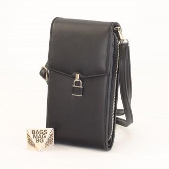 КОД : 9488 Малка дамска чанта от еко кожа в черен цвят - за телефон