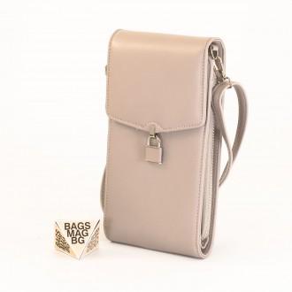 КОД : 9488 Малка дамска чанта от еко кожа в сив цвят - за телефон