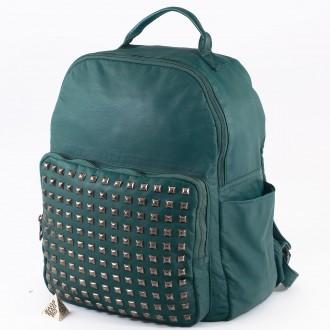 КОД: 98515 Дамска раница от плътна и висококачествена варена кожа в  зелен цвят
