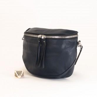 КОД: A2407 Малка дамска чанта от плътна и висококачествена еко кожа в син цвят