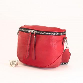 КОД: A2407 Малка дамска чанта от плътна и висококачествена еко кожа в червен цвят