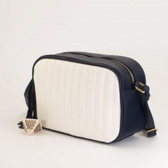 КОД: A2421 Малка дамска чанта от плътна и висококачествена еко кожа в цвят синьо с бяло