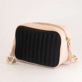 КОД: A2421 Малка дамска чанта от плътна и висококачествена еко кожа в цвят светло бежов с черно