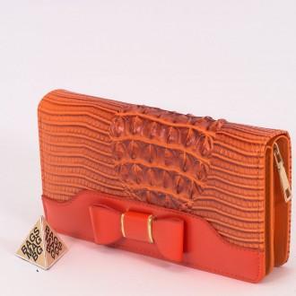 КОД : AB231M Дамски портфейл от плътна и висококачествена еко кожа в оранжев цвят - малък размер