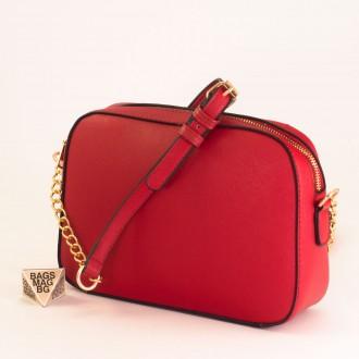 КОД : D1001 Малка дамска чанта от плътна и висококачествена еко кожа в червен цвят