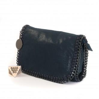 КОД: D617 Малка дамска чанта от еко велур в син цвят