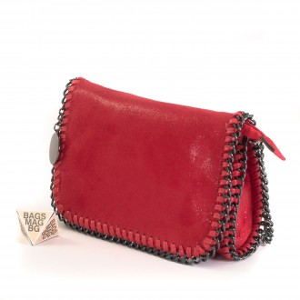 КОД: D617 Малка дамска чанта от еко велур в червен цвят