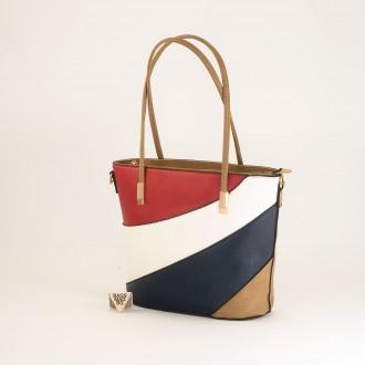 КОД: F1073 Дамска чанта от плътна и висококачествена еко кожа в цвят априкот