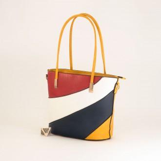 КОД: F1073 Дамска чанта от плътна и висококачествена еко кожа в жълт цвят