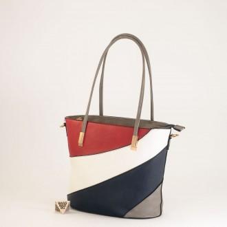 КОД: F1073 Дамска чанта от плътна и висококачествена еко кожа в сив цвят