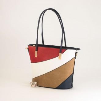 КОД: F1073 Дамска чанта от плътна и висококачествена еко кожа в син цвят