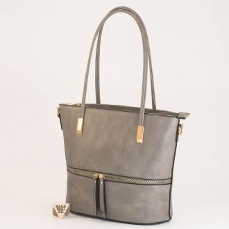КОД: F1075 Дамска чанта от плътна и висококачествена еко кожа в сив цвят
