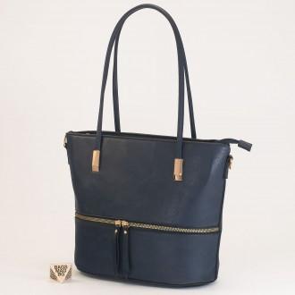 КОД: F1075 Дамска чанта от плътна и висококачествена еко кожа в син цвят