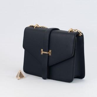 КОД : H399 Дамска чанта от плътна и висококачествена еко кожа в тъмно син цвят