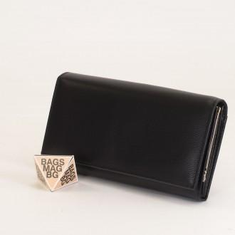 КОД: J016 Дамски портфейл от естествена кожа в черен цвят
