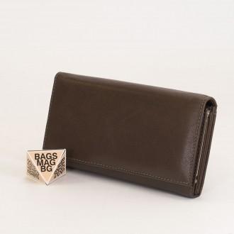 КОД: J016 Дамски портфейл от естествена кожа в сив цвят