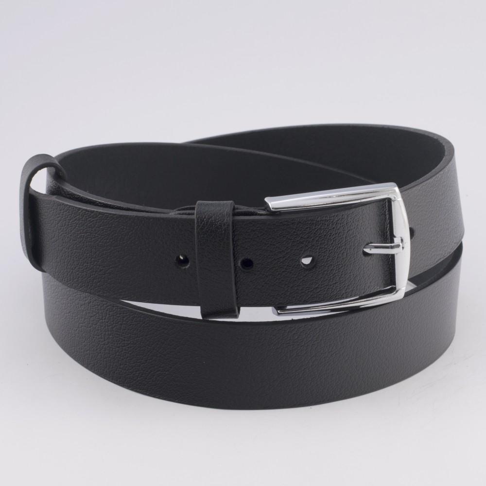 КОД K011 Гигант Мъжки колан от плътна и висококачествена - телешка естествена кожа 3 см в черен цвят