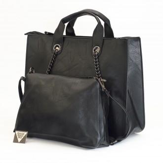 КОД : L1004 Дамска чанта 2 в 1 от плътна и висококачествена еко кожа в черен цвят