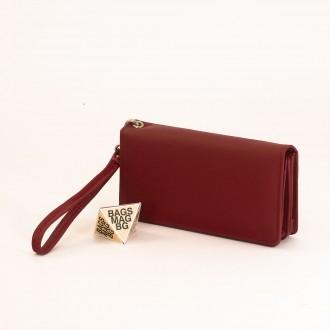 КОД : M29 Дамски портфейл от естествена кожа в червен цвят
