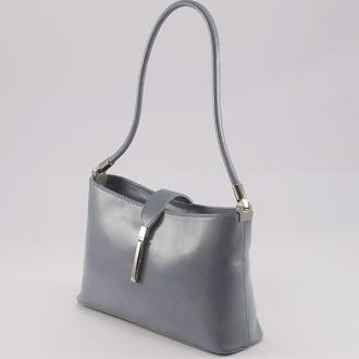 КОД : 0041 Малка дамска чанта от естествена кожа в сив цвят
