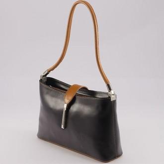 КОД : 0041 Малка дамска чанта от естествена кожа в цвят черно с камел