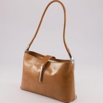 КОД : 0041 Малка дамска чанта от естествена кожа в светлокафяв цвят