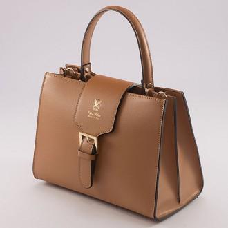 КОД : 0076  Дамска чанта от естествена кожа в кафяв цвят