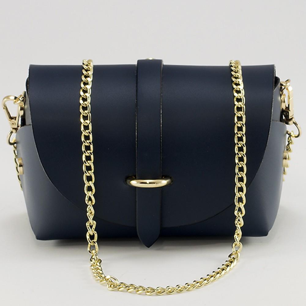 КОД : 0007 Малка дамска чанта от естествена кожа в тъмносин цвят