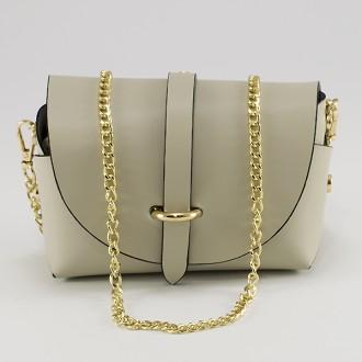 КОД : 0007 Малка дамска чанта от естествена кожа в цвят копринено сиво