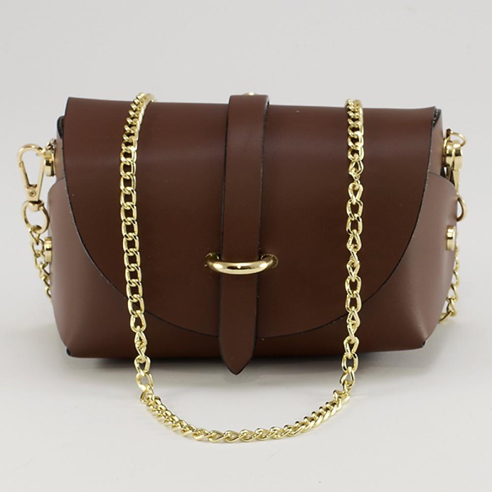 КОД : 0007 Малка дамска чанта от естествена кожа в кафяв цвят