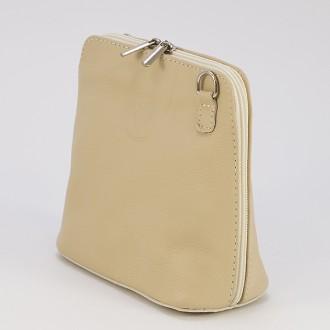 КОД : 0018 Малка дамска чанта от естествена кожа в бежов цвят