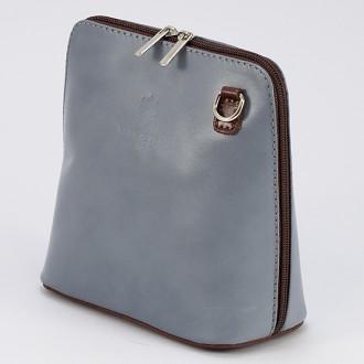 КОД : 0018 Малка дамска чанта от естествена кожа в цвят сиво с кафяво