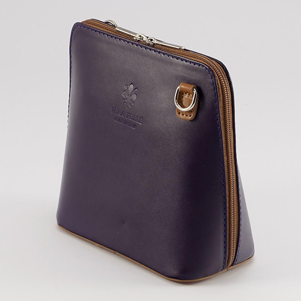 КОД : 0018 Малка дамска чанта от естествена кожа в лилав цвят