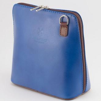КОД: 0018 Малка дамска чанта от естествена кожа в цвят синьо с кафяво