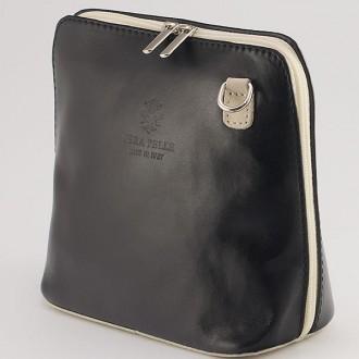 КОД : 0018 Малка дамска чанта от естествена кожа в цвят черно с бежово