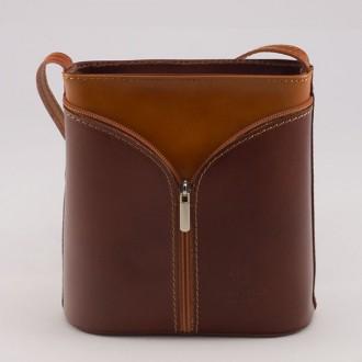 КОД : 0020 Малка дамска чанта от естествена кожа в цвят кафяво с тиква
