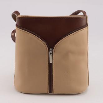 КОД : 0020 Малка дамска чанта от естествена кожа в цвят бежово с кафяво