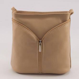 КОД : 0020 Малка дамска чанта от естествена кожа в бежов цвят