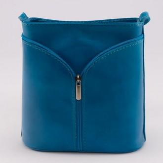 КОД : 0020 Малка дамска чанта от естествена кожа в син цвят