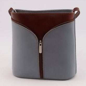 КОД : 0020 Малка дамска чанта от естествена кожа в цвят сиво с кафяво