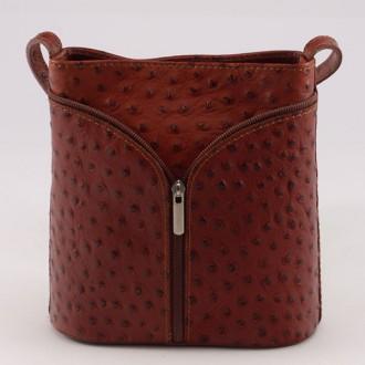 КОД : 0020 Малка дамска чанта от естествена кожа с щраусова щампа в кафяв цвят