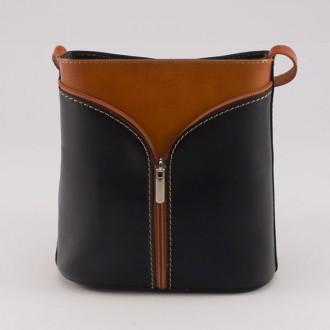 КОД : 0020 Малка дамска чанта от естествена кожа в цвят черно с кафяво