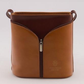 КОД : 0020 Малка дамска чанта от естествена кожа в цвят тиква с кафяво
