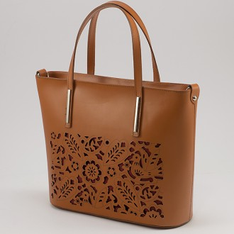 КОД : 0080 Дамска чанта от естествена кожа с флорална щампа в оранжев цвят
