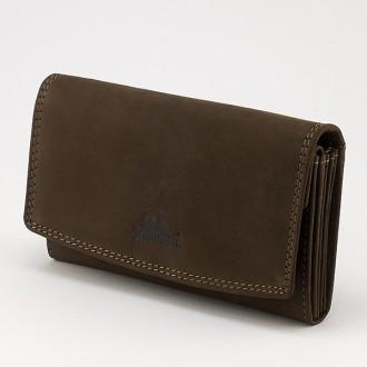 КОД : 0158 Дамски портфейл от телешка естествена кожа - набук в кафяв цвят