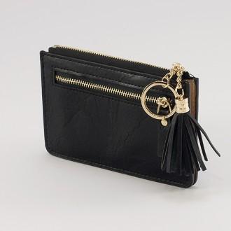 КОД : A104 Дамски портфейл от плътна и висококачествена еко кожа в черен цвят