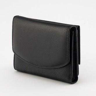 КОД : 1866 Дамски портфейл от естествена кожа в черен цвят