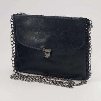 КОД : 0073 Малка дамска чанта от естествена кожа в тъмносин цвят